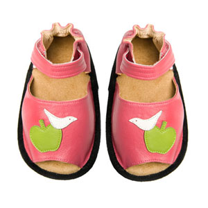 apple & bird baby sandals