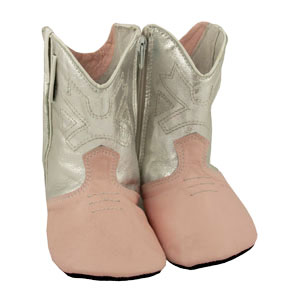 cowboy boots - silver/pink