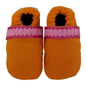 outrageously orange fabric baby shoes - discontinued