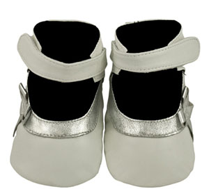 party time white/silver baby sandals