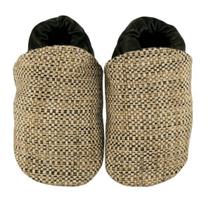 tweed beige/black fabric baby shoes - discontinued